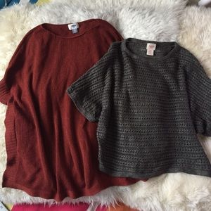 Fall Knit Tops Slouchy Poncho Dolman Sleeves